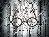 Learning concept: circuit board with Glasses