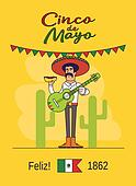 Feliz Cinco de Mayo. Mexican fast food and guitar