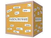Radioactive Waste 3D cube Corkboard Word Concept