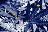 Alaska State Flag on cannabis background. Drug policy. Legalization of marijuana