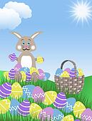 easter bunny egg basket background