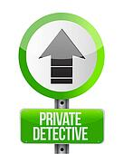 private detective road arrow sign concept