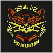 Shooting Club - emblem with crossed guns and tiger head.