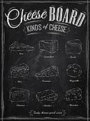 Poster set of cheese chalk