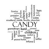 Candy Word Cloud Concept in black and white