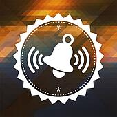 Ringing Bell Icon on Retro Triangle Background.