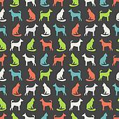 Animal seamless pattern of cat and dog silhouettes.