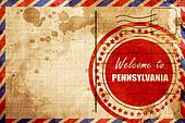 Welcome to pennsylvania, red grunge stamp on an airmail backgrou
