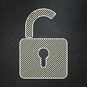 Information concept: Opened Padlock on chalkboard background