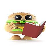 3d Burger reads a good book