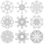 Set abstract floral patterns, contours