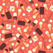 Seamless pattern with ice creams