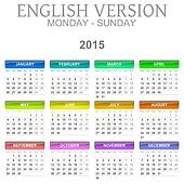 2015 Calendar English Language Version Mon ? Sun