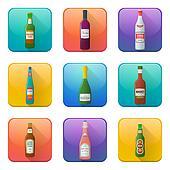 glossy alcohol bottles icons set