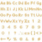 Alphabet, numbers and signs set, paper