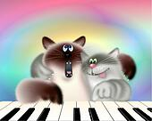 Two Cats Playing Piano