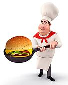 Young chef with burger