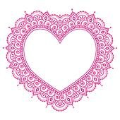 Heart Mehndi pink design, Indian He