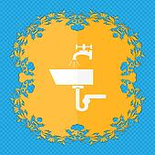 Washbasin icon sign. Floral flat design on a blue abstract background with place for your text.