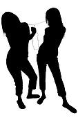 Silhouette With Clipping Path of Women Dancing