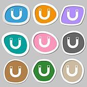 magnet sign icon. horseshoe it symbol. Repair sig. Multicolored paper stickers.
