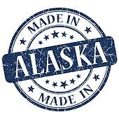 made in Alaska blue round grunge isolated stamp