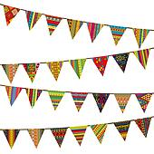 Bunting flags with ethnic motifs
