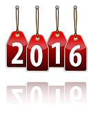 Red hanging tags with the 2016 year digits