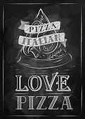 Poster love pizza. Chalk.