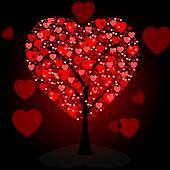 Hearts Tree Means Valentine's Day And Forest