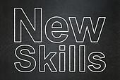 Education concept: New Skills on chalkboard background