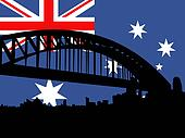Sydney harbour bridge against Australian flag