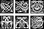 Celtic animals decorated irish ornament
