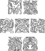 Square decorative celtic motifs of animals and birds