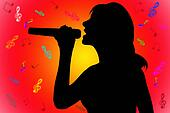 silhouette singing woman