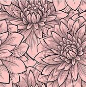 Beautiful seamless pattern with blooming dahlias closeup.