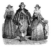 Civil suits the reign of Charles I, vintage engraving.