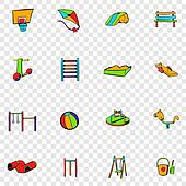 Park playground set icons