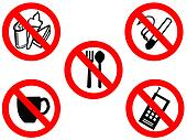 eating smoking prohibited signs