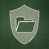 Finance concept: Folder With Shield on chalkboard background
