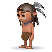 3d Native American Indian looks sad