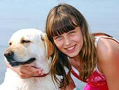Girl dog portrait