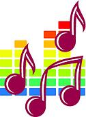 Festival or party icon with music notes