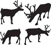 black silhouette of reindeer