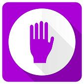 stop pink flat icon hand sign