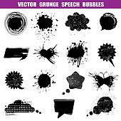 Grunge Speech Bubbles - Various Shapes - for design or scrapbook - Vector Set