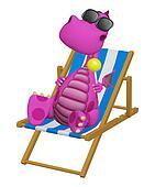 3d cartoon dragon relaxing in his beach chair