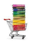stack of colorful books in shopping card on an isolated white ba