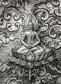 Oriental pattern, engraving on silver ,chiang mai Thailand.