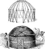 Tent turkoman, vintage engraving.